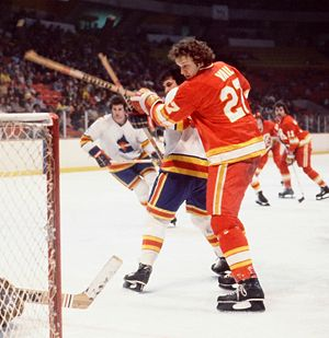 History of the National Hockey League (1967–92) - The Colorado Rockies battle the Atlanta Flames in 1978. These teams are now the New Jersey Devils and Calgary Flames respectively.