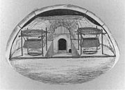 A 1916 drawing of the interior of an Alaskan igloo