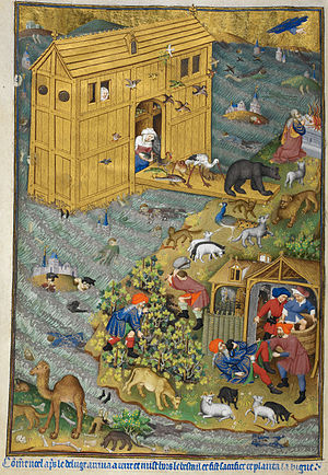 Bedford Hours - The exit from Noah's Ark, f. 16v