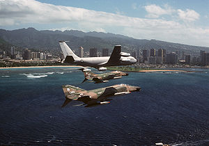 161st Air Refueling Wing - A 161st ARG KC-135A with two Hawaii ANG F-4Cs in 1979