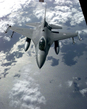 PoAF's F-16A fighter prepares to refuel from a KC-10. March 19th, 1999