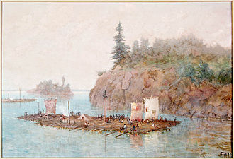 Timber rafting - Timber raft by Frances Anne Hopkins, 1868.