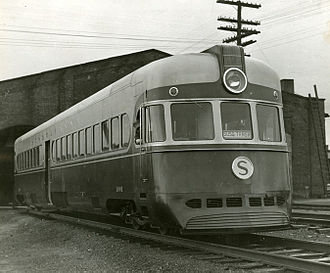 New York, Susquehanna and Western Railway - New York, Susquehanna and Western Railway streamlined locomotive (Motorailer) constructed by the American Car and Foundry company, c.1940