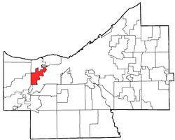 Location of Fairview Park in Cuyahoga County