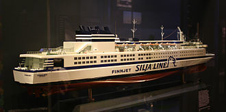 Silja Line - A model of the world's fastest cruiseferry GTS Finnjet, in 1980s Silja Line livery (ships owned by Johnson Line had different funnel colours).
