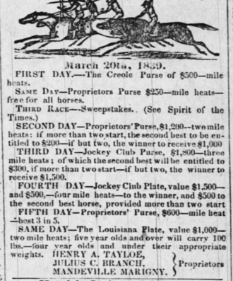 Henry Augustine Tayloe - Times Picayune Ad March 13, 1839