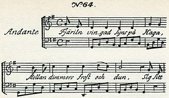 "Fredmans sånger - ""Fjäriln vingad syns på Haga"", ""The wingèd butterfly is seen in Haga"", song  no. 64"