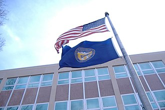Flag of Nebraska - Image: Flags of Nebraska and the United States at the Labor Department building panoramio