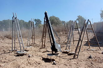 Qassam rocket - Eight Qassam launchers, seven equipped with operating systems and one armed and ready to launch, uncovered during an IDF operation in northern Gaza.