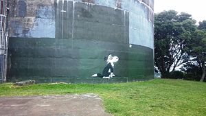 Footrot Flats - A graffiti tribute to Murray Ball's comic strip Footrot Flats, on Big King Reserve in Auckland