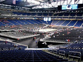 Ford Field - Ford Field is transformed into a basketball arena in preparation for the 2008 Midwest Regional Finals.