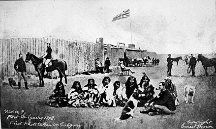 In 1875, the North-West Mounted Police erected Fort Calgary in an effort to police the area. FortCalgary1878.jpg