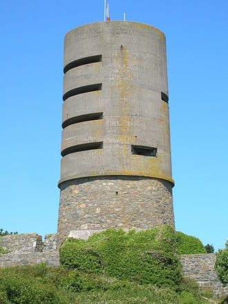 Fort Saumarez - The Martello tower at Fort Saumerez, with German World War II Observation tower added