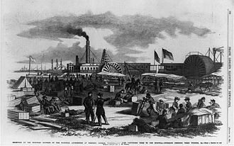 Fort Monroe - Receiving wounded at Fort Monroe as illustrated in Frank Leslie's paper, August 16, 1862
