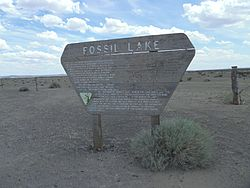 Fossil Lake sign, Lake County, Oregon.JPG