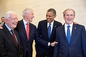 George W. Bush Presidential Center - Obama chatting with former Presidents Carter, Clinton and Bush