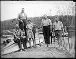 Four men and a girl displaying their fishing catch at Lake Conjola (4009416405).jpg