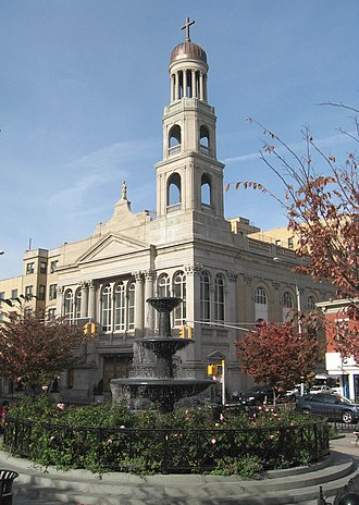 Our Lady of Pompeii Church (Manhattan) - The church viewed from the neighboring Father Demo Square in 2008