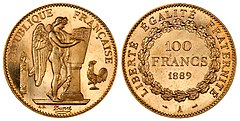 "The French franc is a former currency of France and Monaco and, alongside the Spanish peseta, a former de facto currency in Andorra. The first franc was a gold coin introduced in 1360, which showed King John II of France on a richly decorated horse, earning it the name franc à cheval. A later coin, showing Charles VII on foot, under a canopy, was named the franc à pied. The decimal franc was established by the French Revolutionary Convention in 1795 as a decimal unit, and became the official currency of France in 1799. France joined the euro in 1999, and the franc was replaced by euro notes and coins in 2002.This picture shows a 100-franc gold coin, dated 1889, with a ""winged genius"" designed by Augustin Dupré on the obverse. Only a hundred proof coins of this design were minted."