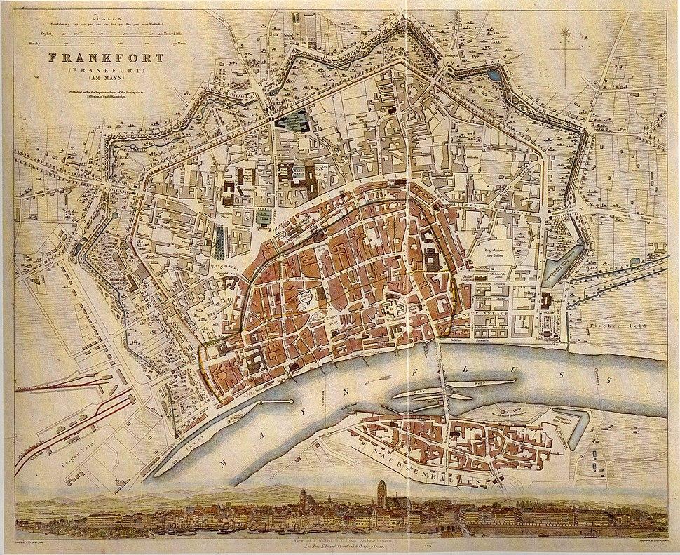 Frankfurt Stadtplan um 1840