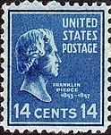 A postage stamp featuring Pierce.