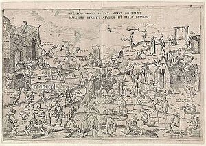 Frans Hogenberg - The Blue Cloak, some say this 1558 engraving with proverbs written above the figures, formed the basis for Breughel's Netherlandish Proverbs
