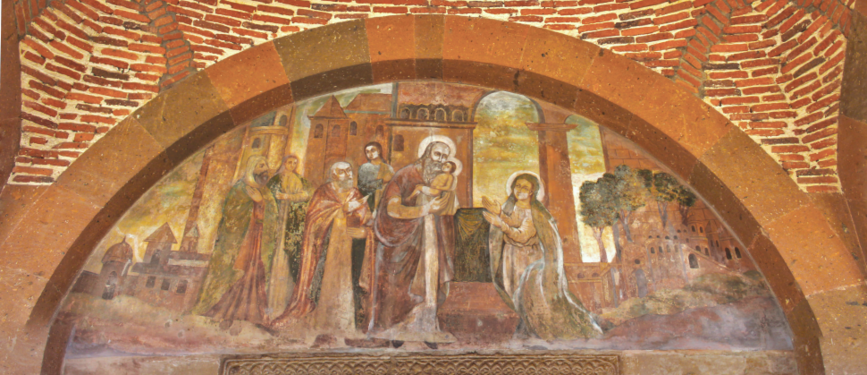 Fresco of the portals lintel, St. Gayane church.png