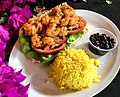 Fried shrimp sandwich with rice and beans.jpg