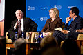 From left, Secretary of Defense Robert Gates, Secretary of State Hillary Rodham Clinton, and moderator Frank Sesno, director of the School of Media and Public Affairs at The George Washington University, take 100928-D-JB366-004.jpg