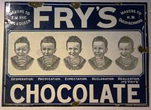frys produced the first chocolate bar in 1847 which was then mass produced as frys chocolate cream in 1866