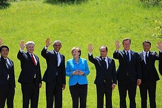 Stephen Harper - Harper at the 2015 G-7 summit with Shinzō Abe, Barack Obama, Angela Merkel, François Hollande, David Cameron, and Matteo Renzi in Bavaria, Germany.