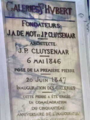 Cluysenaar family - Signature of Jean-Pierre on the Galeries Royales, Brussels