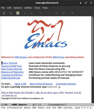 GNU Emacs 26.2 running on GNOME 3