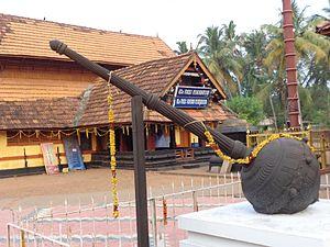 Gada (mace) - Statue of Bhima's gada at Thrippuliyoor Maha Vishnu Temple, Puliyoor
