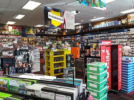 Interior of a GameStop store in Kingstowne, Virginia in 2018, with several items on clearance