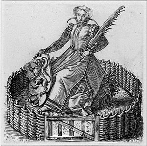 "Philip Galle - ""Garden of Holland"", allegorical engraving by Galle of a woman dressed in the manner of Kenau Simonsdochter Hasselaer"