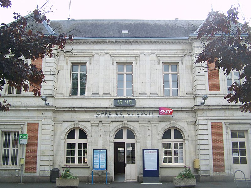 Front of the building of Clisson railway station in Loire-Atlantique, France.