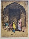 Gateway to Agra, c. 1923, Etching. drypoint hand-colored with watercolor by Charles W. Bartlett,.jpg