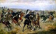 Gefecht zwischen k.k. Husaren und preußischen Kürassieren in der Schlacht von Königgrätz (A. Bensa 1866)