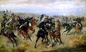 Battle of Königgrätz - Cavalry engagement at the battle of Königgrätz (Alexander von Bensa, 1866).