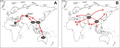Geographic dispersal routes of out of Africa migration, and secondary worldwide human expansions.PNG
