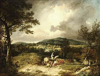 Newtown, Hampshire - A view south from Newtown or Sandleford by George Arnald (1763–1841), Wood gatherers, with Highclere Castle, Hampshire, in the distance, 1805.