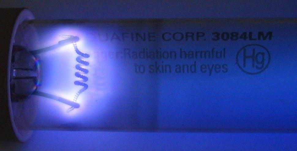 Germicidal UV discharge tube glow rotate