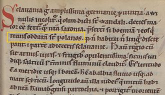 "Poles - Fragment of Gesta Hammaburgensis ecclesiae pontificum (1073) by Adam of Bremen, containing the name ""Polans"":  ""trans Oddaram sunt Polanos"""