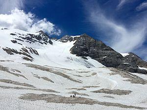 Marmolada Glacier - The glacier in June 2015, seen from Pian dei Fiacconi.