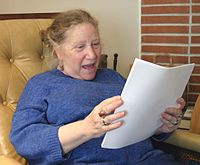 Diane di Prima, photo by Gloria Graham during the video taping of Add-Verse, 2004