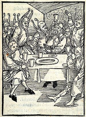 Gluttony - A woodcut representing Gluttony