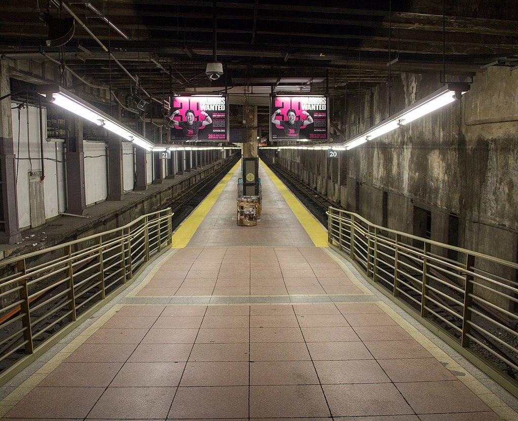 Train shed platform and tracks