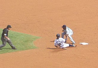 Stolen base - Curtis Granderson steals a base.
