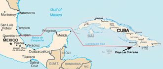 Granma (yacht) - The route of Granma from Tuxpan to Playa Las Coloradas